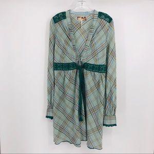 Free people lace trim dress with tie waist